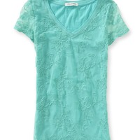 Sheer Lace-Front V-Neck Tee