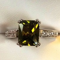 18k White Gold Plated Emerald Topaz Engagement Ring from GemEnvy
