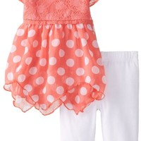 Little Lass Baby Girls' 2Pc Chiffon Set Polka Dots, Coral, 24 Months