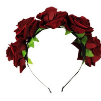 Party Wedding Hairwear Rose Floral Flower Garland Crown Headband Hair Band Bridal Festival Holiday