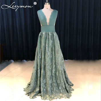 Newest Delicate Teal Lace Prom Dresses 2017 V-Neck Sexy Open Back Tank Pleat Evening Dresses vestidos de noche