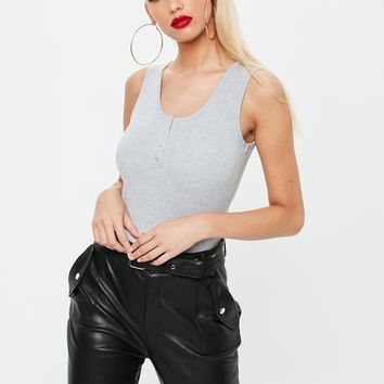 Missguided - Gray Button Front Bodysuit
