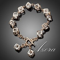 AZORA Brand Design 18K Real Gold Plated Stellux Austrian Crystal 12pcs Cube Charm Bracelet TS0023