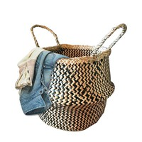 Black Natural Seagrass Belly Storage Basket Zig Zag Straw Planter Laundry Basket