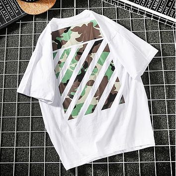 Off White Fashion New Camouflage Stripe Women Men Top T-Shirt White