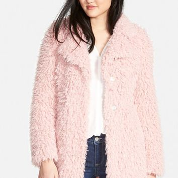 Women's GUESS 'Teddy Bear' Notch Collar Faux Fur Coat,