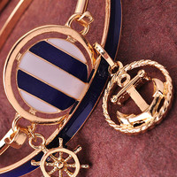 Anchor Charm Bangles - Blue