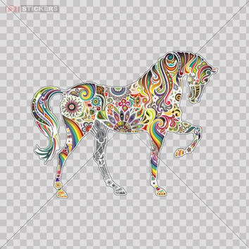 Decals Stickers Vinyl Colorful Horse Elephant KIds Lovely Play Room Car Window Wall Art Decor Doors Helmet Truck Motorcycle Note Book Mobile Laptop Size: 4 X 3.2 Inches Vinyl color print