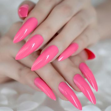 Hot Pink Extra Long False Nails Stiletto Tips Oval Sharp End Stilettos Fake Nail Rose Red UV Gel Manicure Artificial Nails Salon