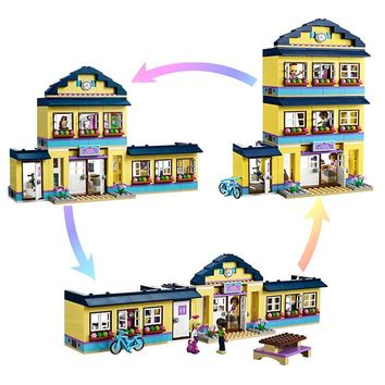 Heart Lake School Blocks Compatible With legoing Friends Model Building Blocks Birthday Gifts For Girls Toys for Children