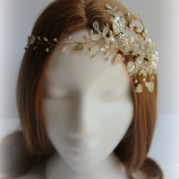 R1600 Gold Lace Bridal hair piece delicate crystal and pearl, hair vine, crown, peal and crystal