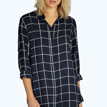 Clara Grid Print Oversized Long Sleeve Shirt