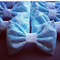 Aqua white lace handmade fabric hair bow from Bowlicious Divas Bowtique