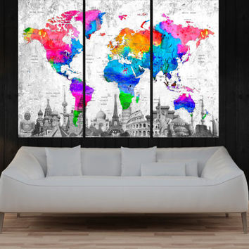 extra large canvas wall art print Push Pin world map,  travel map with countries, ready to hang, No:9S84