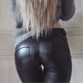 VONG2W Faux Leather Hot Sale Elastic Shaping Hip Push Up Pants Bottom Black Sexy Leggings Women Jegging Gothic Leggins EXE0319
