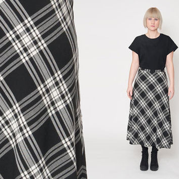 1980's Black Checkered Skirt – Vintage 80s White Plaid A Lined Preppy Novelty High Waist Wool Blend Mod Secretary Maxi Skirt Size L XL