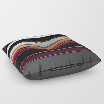 Splash of Color Silver Burgundy Black White Stripes Floor Pillow by Sheila Wenzel