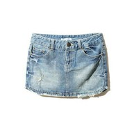 Washed Denim Mini Skirt with Ripped Detail