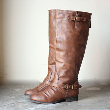buckled down tall zippered riding boots from shophearts | LOW CUT