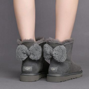 UGG Women Cute Bow Casual Boots Shoes-1