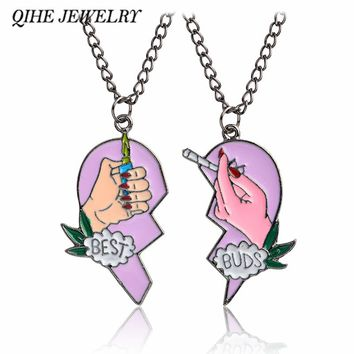 QIHE JEWELRY Best friends necklace Best buds cigarettes and lighters heart puzzle pendant necklace BFF jewelry BFF necklace