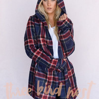 Oversized Fleece Yoga Wrap Hoodie Jacket in Plaid