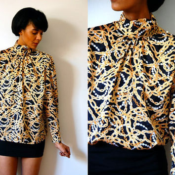 Vtg Gold Chain & Pearls Printed LS Pearl Shoulder Buttons Blouse