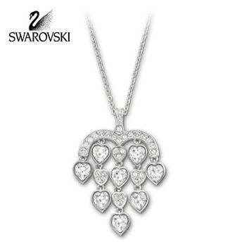 Swarovski Clear Crystal JEWELRY SENSIBLE Pendant HEARTS Necklace #1156280