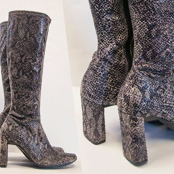 Amazing Square Heel Faux Snakeskin Knee High Boots 7.5 | Womens Vintage Gogo Boots Size 7 | Square Toe Rocker Python Platform Boots 70s 90s