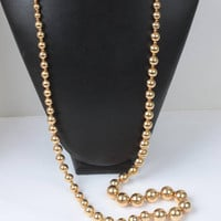 Gold Ball Bead Necklace 36 Inch Long Chunky Bold Beads Rope Lariat Length Vintage