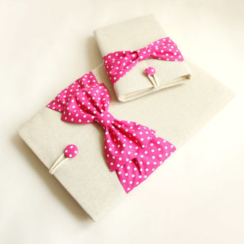 Coordinating Set of Cases-Premium Cotton 13 inch MacBook Pro Air Retina Sleeve Case,SUPERIOR Shock Absorbent Foam Padding - Polka Dots Bow
