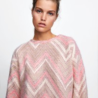 TEXTURED CHEVRON SWEATER - SWEATSHIRTS-WOMAN | ZARA United States