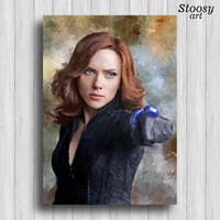 black widow avengers art marvel poster superhero decor avengers gift