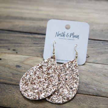 Teardrop Sparkle Earrings, Rose
