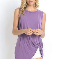 Sleeveless Twist Top - Light Eggplant