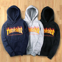 Thrasher Magazine Women's Lone Sleeve Hoodies Sweatshirt Fashion Graphic Pullover With Pocket