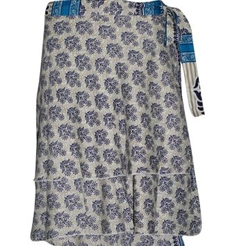 Women's Short Wraps Skirt Blue/Beige Premium Silk Printed Reversible Boho Skirts