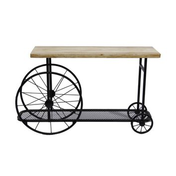 Industrial Design Sofa Console Table With Wooden Top And Metal Wheels Base, Sand Black By Benzara