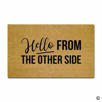 Autumn Fall welcome door mat doormat  Entrance Mat Hello From The Other Side Funny Entrance Floor Mat Non-slip  23.6 by 15.7 Inch Machine Washable Non AT_76_7