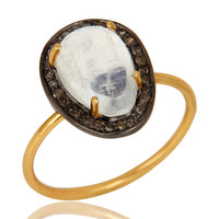 Rainbow Moonstone And Pave Set Diamond 14K Solid Yellow Gold Statement Ring