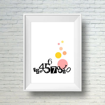Printable Kids Wall Art, Instant Download Modern Kids Room Print,  Numbers Playroom Decor, Digital Download Kids Art Print,  Kids Wall Decor