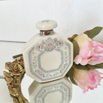 Lenox Perfume Bottle - Charleston Pattern, Fine China Perfume Bottle, Pastel Perfume Bottle, Gift for her, Gift for Grandma