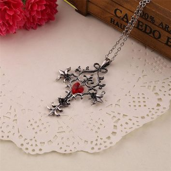 The Vampire Diaries Necklace Cross Red Heart Crystal Pendant Vintage