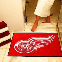 Detroit Red Wings Bath Shower Mat Area Rug