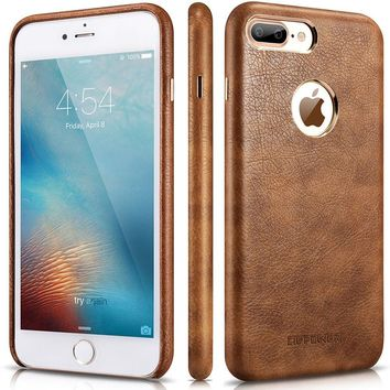 iPhone 8 Plus Case - Premium PU Leather Case [Vintage Classic Series] – Best Cellphone Cases Protective Back Cover - Ultra Slim Fit Phone Case for Apple iPhone 8 Plus by CIVPOWER (Brown)