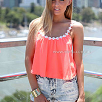 DAISY CHAIN TOP , DRESSES, TOPS, BOTTOMS, JACKETS & JUMPERS, ACCESSORIES, 50% OFF SALE, PRE ORDER, NEW ARRIVALS, PLAYSUIT, COLOUR, GIFT VOUCHER,,Orange,CROP,SLEEVELESS Australia, Queensland, Brisbane