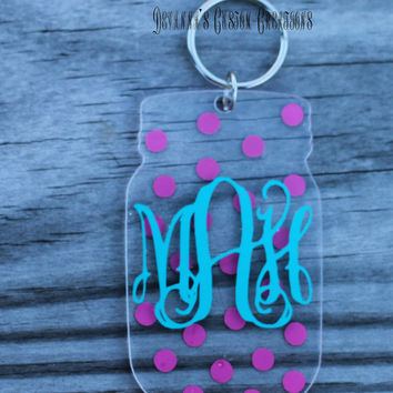 Monogram Polka Dot Mason Jar Key Chain