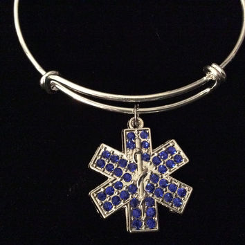 EMT, Paramedic, EMT, EMS, Medical Blue Crystal Silver Charm Bangle Bracelet Expandable Adjustable