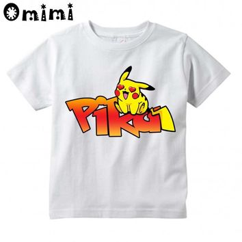 Boys/Girls Heart Pikachu Cartoon Design T Shirt Kids Cute Casual Tops Children's Summer White  Go T-ShirtKawaii Pokemon go  AT_89_9