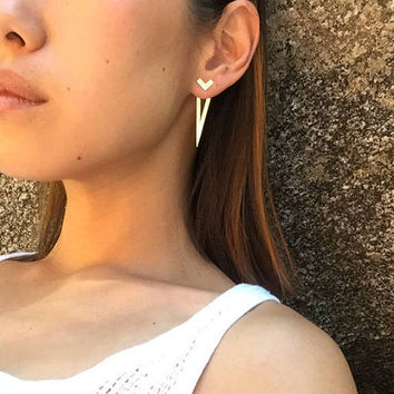 Down front back earring - double sided/geometric/pure silver/minimal/modern/singles earring